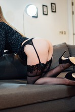 Sexy Stella Cox Strips Off Her Black Lingerie 04