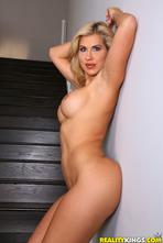 Curvy Blonde MILF Savana Styles Strips On Stairs 08