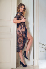Hot Babe Sybil Masturbates In Black Lace 01
