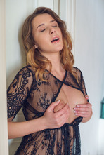 Hot Babe Sybil Masturbates In Black Lace 03