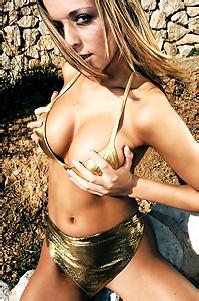 Claudia In Gold Bikini