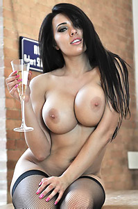 Sexy Babe Charley With Champagne