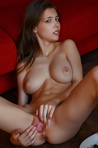Busty Teenie Mila Azul Masturbates With Cherries