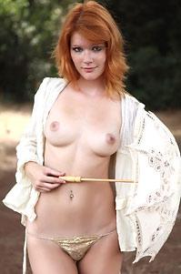 Pretty Redhead Mia Sollis Nude In The Forest