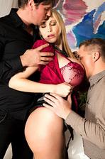 Sandra Star Hot Huge Boboed Pornstar Gets Fucked By Two Guys