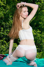Tiffany Bene Strips Off Her Sexy White Lingerie Outdoors